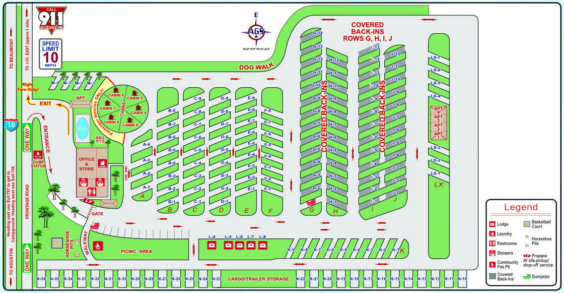 Houston East RV Resort Site Map