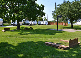 Rentals at Houston East RV Resort Horseshoe Pits